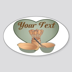 Cook or Chef Personalized Sage Gree Sticker (Oval)